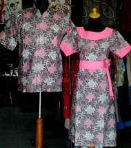 SD343_batikpekalongan_sarimbit_dress_kerahbulat_amuba_ghifa